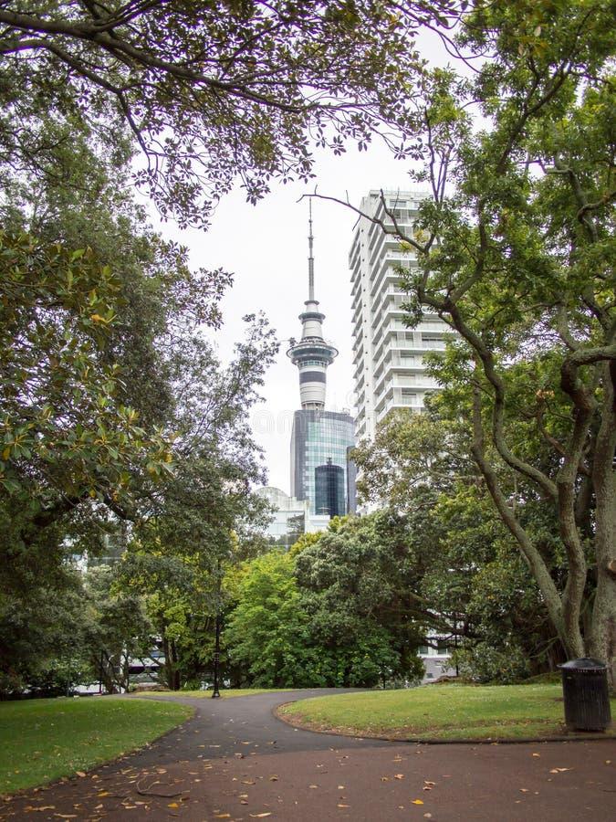 Auckland nieba wierza, Nowa Zelandia Widok od Albert parka zdjęcie stock
