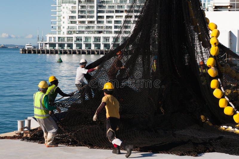 AUCKLAND, NIEUW ZEELAND - JUNI 14, 2012: Groep havenarbeiders die industrieel die visnet handhaven door de achtergrond van de hij stock fotografie