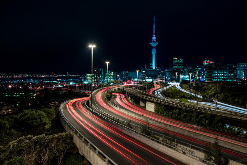 Auckland at Night stock photography