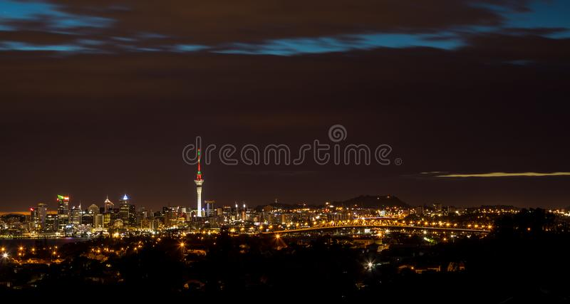Auckland At Night. The wonderful city of Auckland a night with the sky tower lights royalty free stock photos