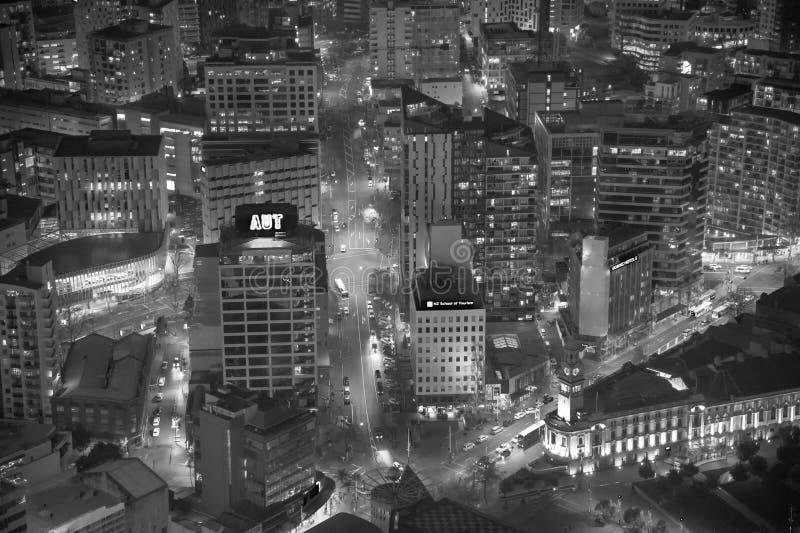 AUCKLAND, NOUVELLE-ZÉLANDE - 26 AOÛT 2018 : Vue aérienne de ciel de ville image stock
