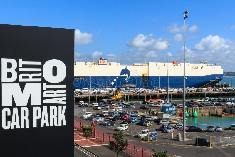 Auckland, Nova Zelândia Parte do porto do Britomart Carpark fotografia de stock
