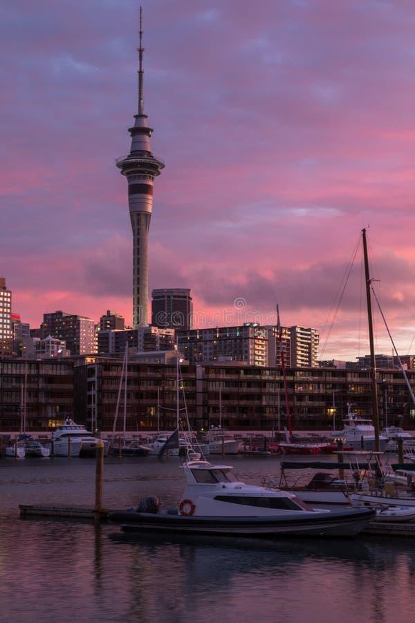 Auckland, Nueva Zelanda, noviembre, 26, 2014; Una opinión de la puesta del sol del retrato del horizonte de Auckland en la oscuri fotografía de archivo