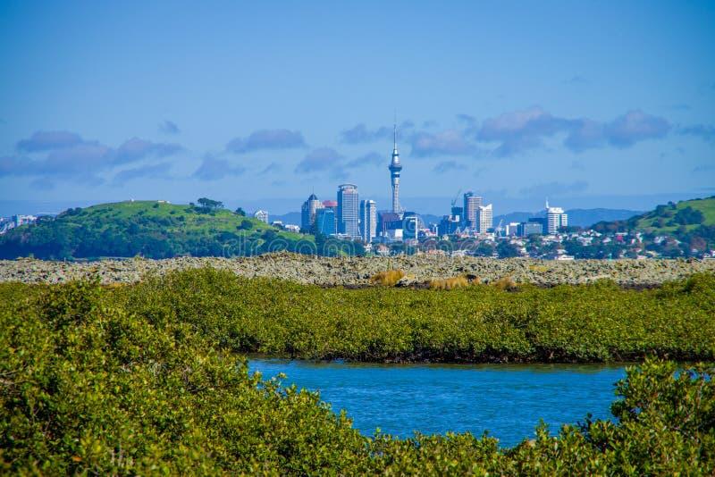 AUCKLAND, NUEVO SELANDIA 12 DE MAYO DE 2017: Vista de la ciudad de Auckland del continente de la isla de Rangitoto fotos de archivo libres de regalías