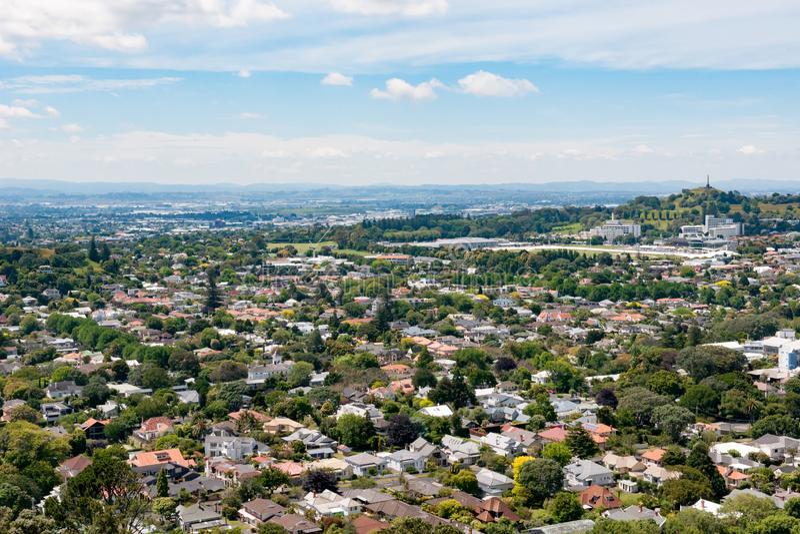 Auckland, Nuova Zelanda, vista aerea dal supporto l'Eden fotografia stock libera da diritti