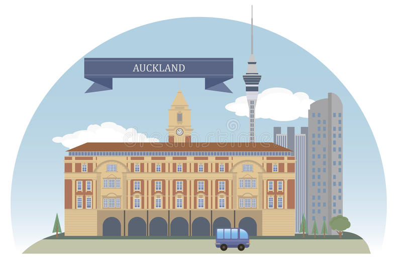 Auckland. Nya Zeeland vektor illustrationer