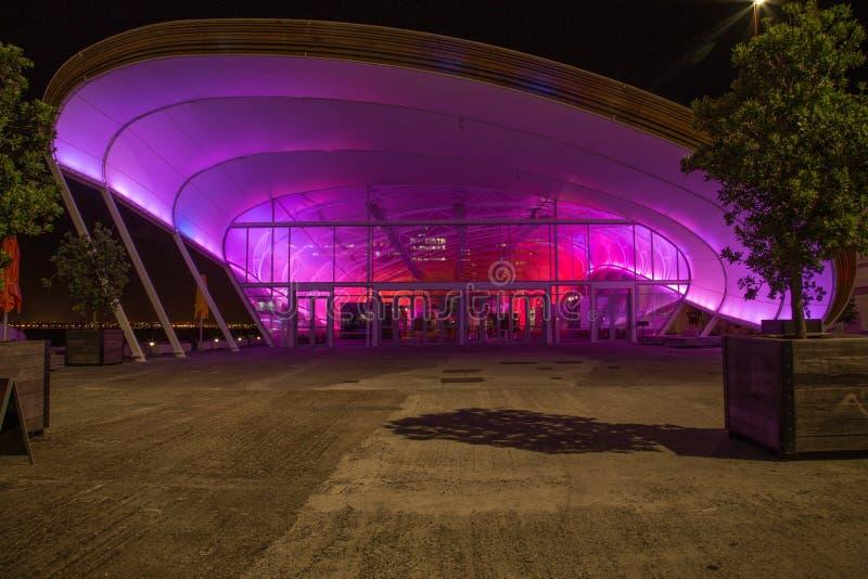 Auckland Nya Zeeland, November, 26, 2014; MolnAuckland'sens i stadens centrum mötesplats tände upp på natten med rosa och purpurf royaltyfria foton
