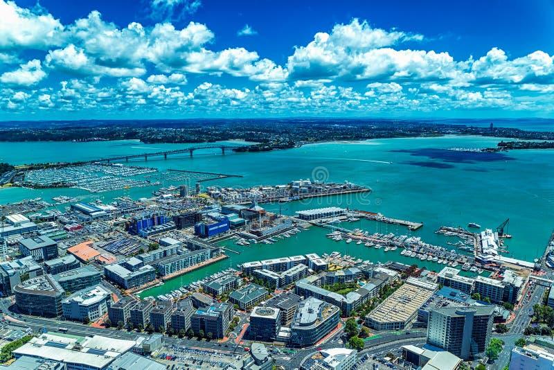Auckland schronienia i mosta widok od obserwacja pokładu obraz royalty free