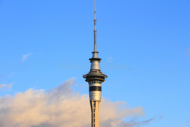 Auckland Sky Tower. Dominates the viaduct harbour view. New Zealand stock image