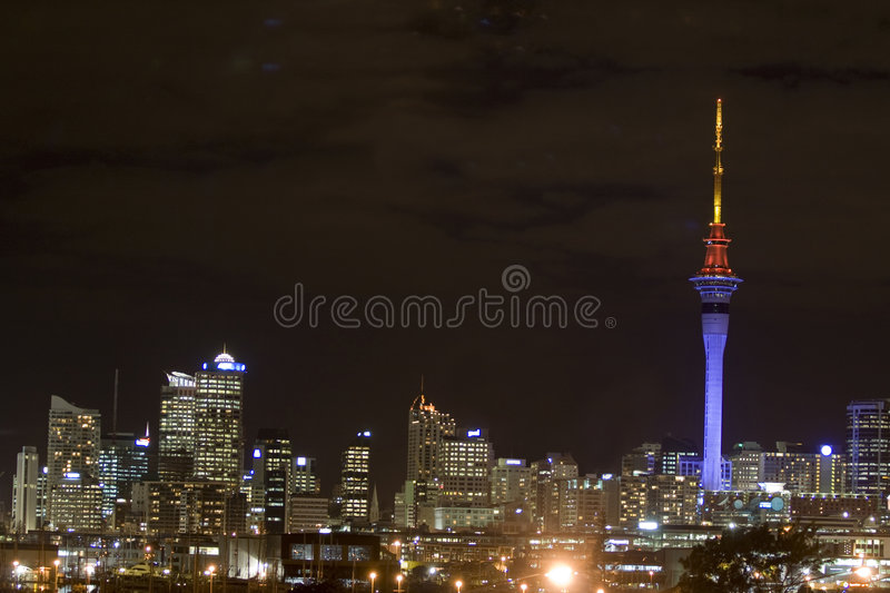 Auckland Sky Tower at Night stock photography