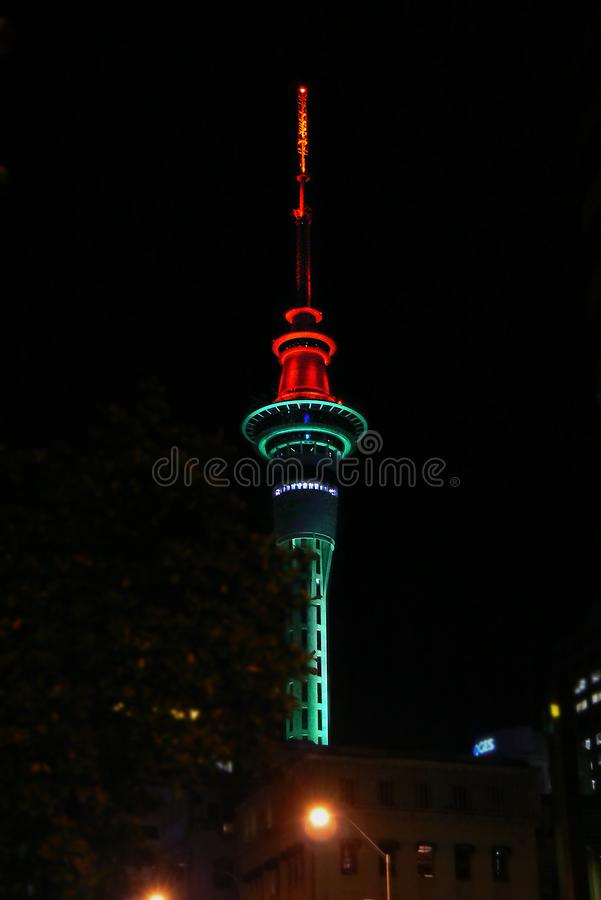 Auckland Sky Tower by night, North Island, New Zealand. The Auckland Sky Tower by night, a telecommunications and observation tower on the North Island, New stock photos