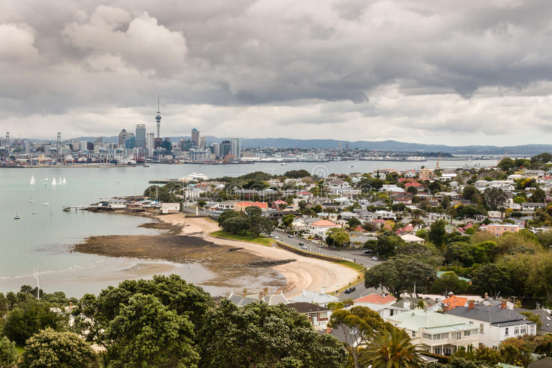 Auckland skyline with Devonport suburb in New Zealand. Aerial view of Auckland skyline with Devonport suburb in New Zealand stock photography