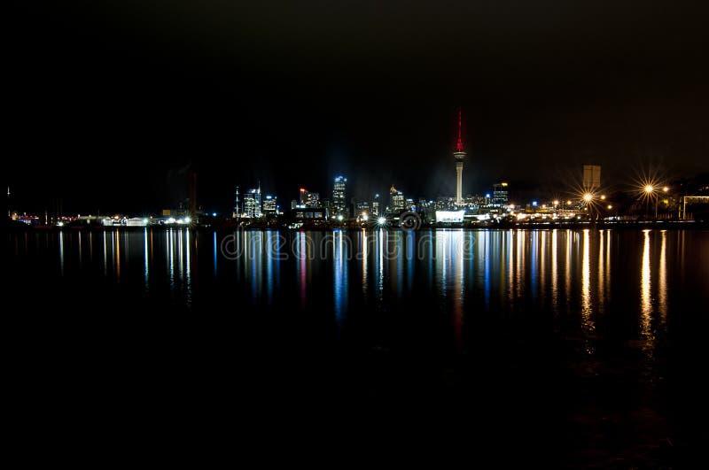 Auckland skyline landscape. Aucland skyline at night landscape royalty free stock photos