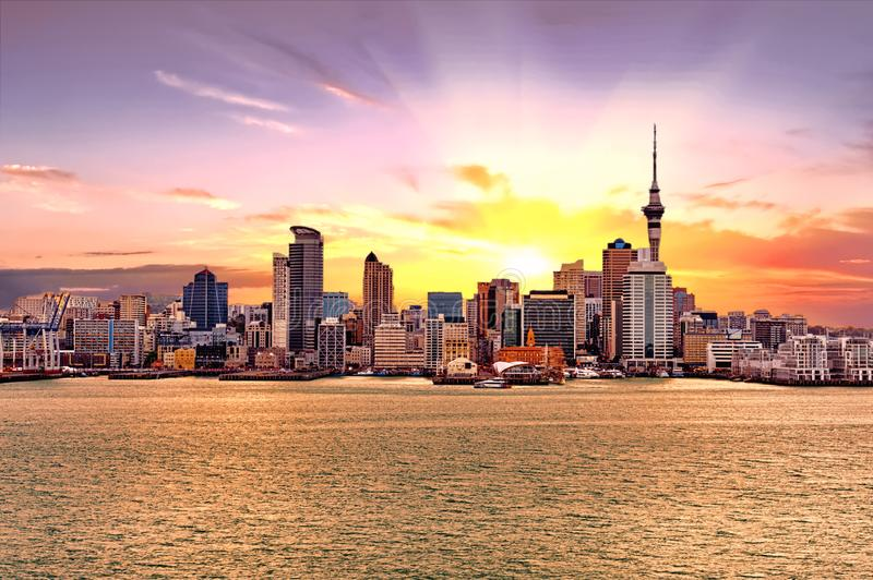 Auckland skyline in New Zealand royalty free stock images