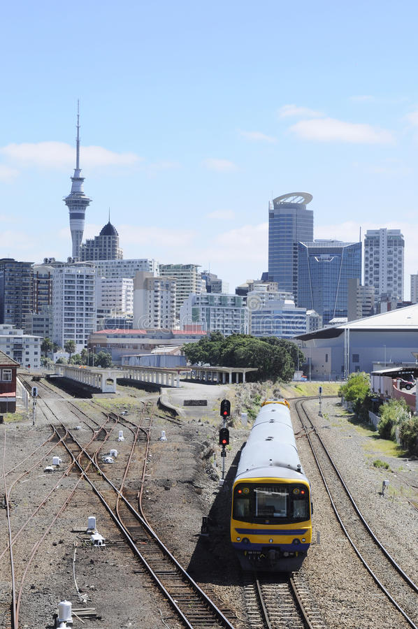 Auckland Skyline and Train royalty free stock photo