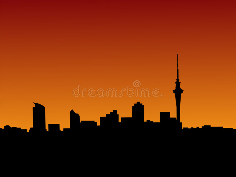 Auckland at sunset royalty free illustration