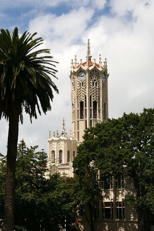 Auckland university, New Zealand. Auckland university clock tower, New Zealand royalty free stock image