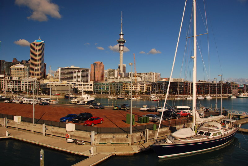 Auckland Viaduct Harbor, New Zealand royalty free stock images