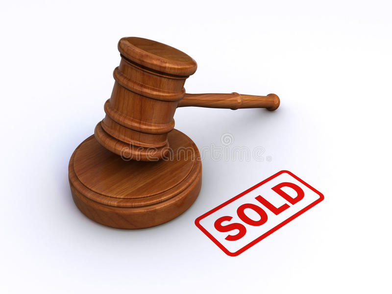 Auction. 3d render of an auction concept ( judge gavel and the stamp showing sold