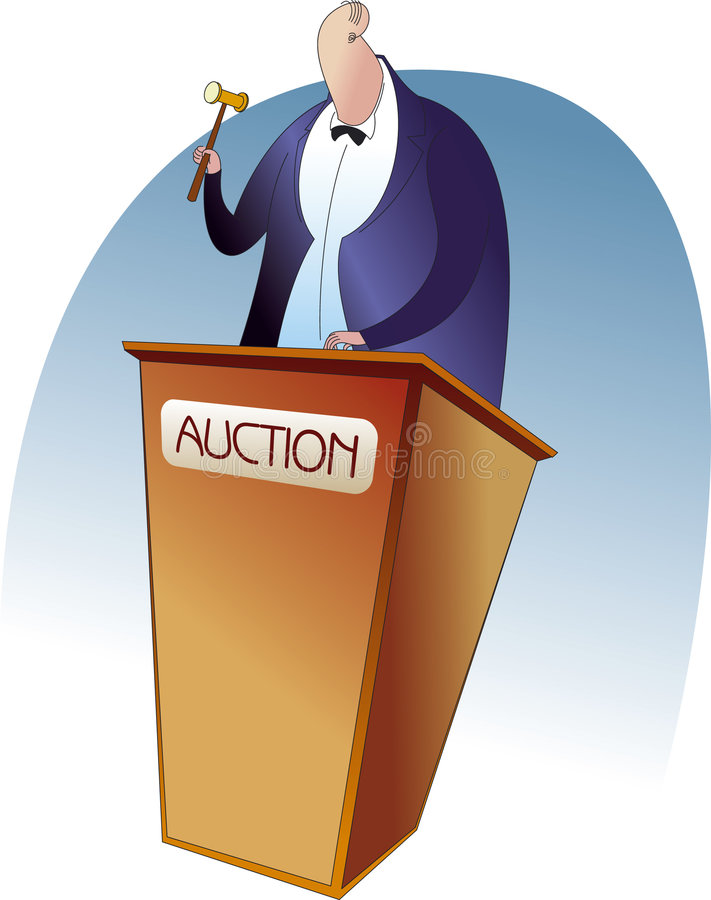 Auction. An auctioneer with a gavel