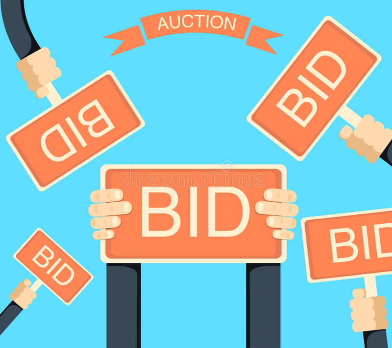 auction bid cards template - auction and bidding banner with hands holding bords stock