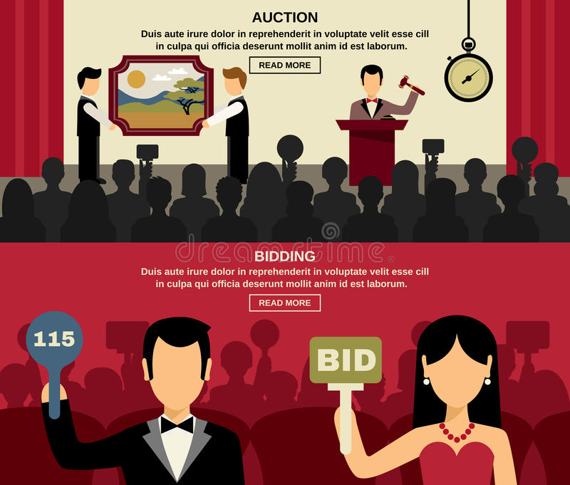 Auction And Bidding Banners Set vector illustration