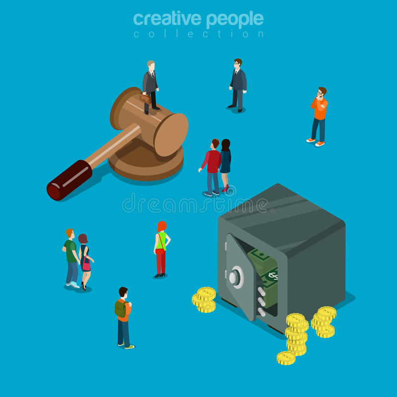 Auction business trade mallet safe money flat isometric vector. Auction flat 3d isometry isometric business trade concept web vector illustration. Micro royalty free illustration