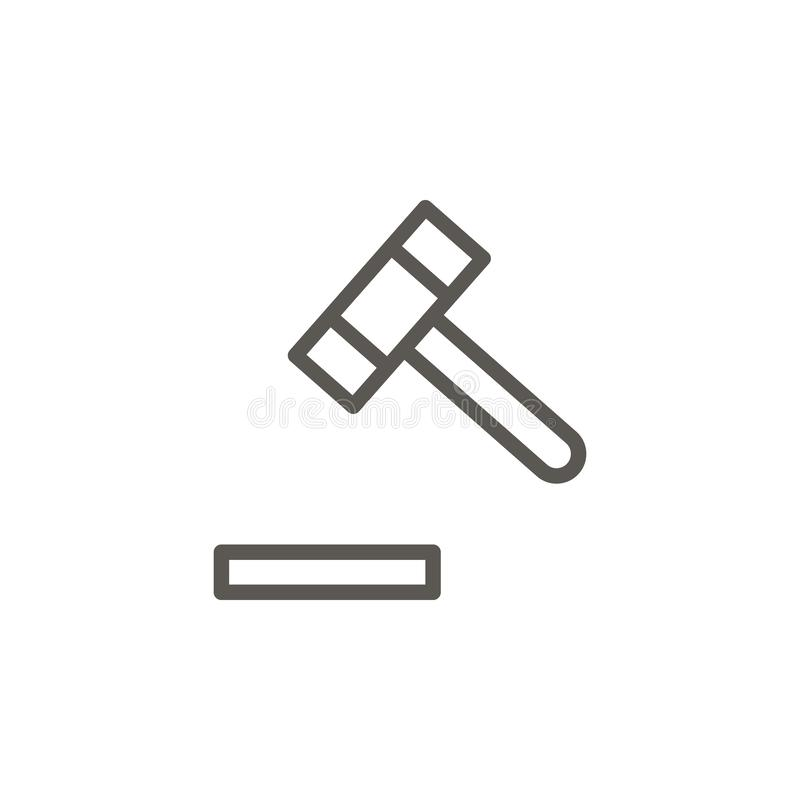 Auction, court vector icon. Simple element illustration from UI concept. Auction, court vector icon. Real estate concept vector. Illustration. on white royalty free illustration