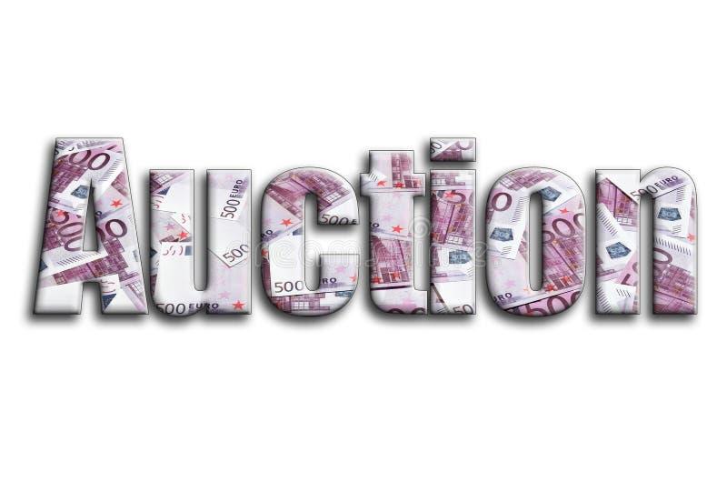 auction Die Aufschrift hat eine Beschaffenheit der Fotografie, die viele 500 Eurohaushaltpläne darstellt lizenzfreie stockbilder