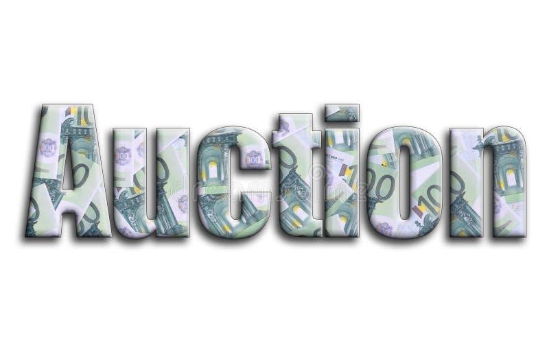auction Die Aufschrift hat eine Beschaffenheit der Fotografie, die viele 100 Eurohaushaltpläne darstellt stockbilder