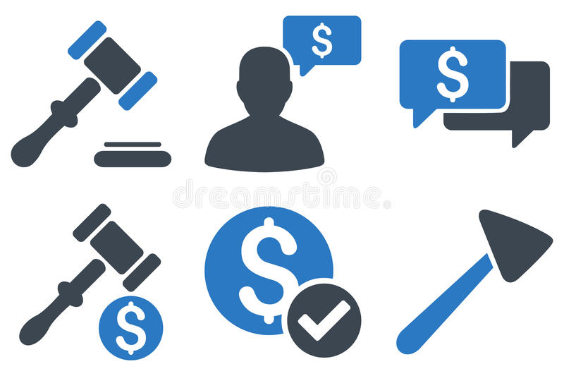 Auction Flat Vector Icons vector illustration