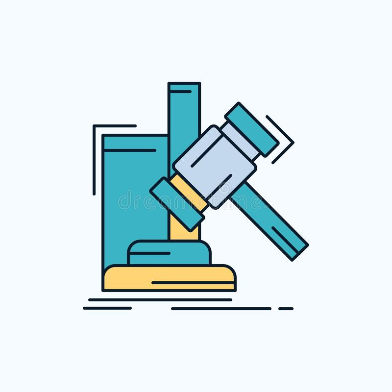 Auction, gavel, hammer, judgement, law Flat Icon. green and Yellow sign and symbols for website and Mobile appliation. vector stock illustration