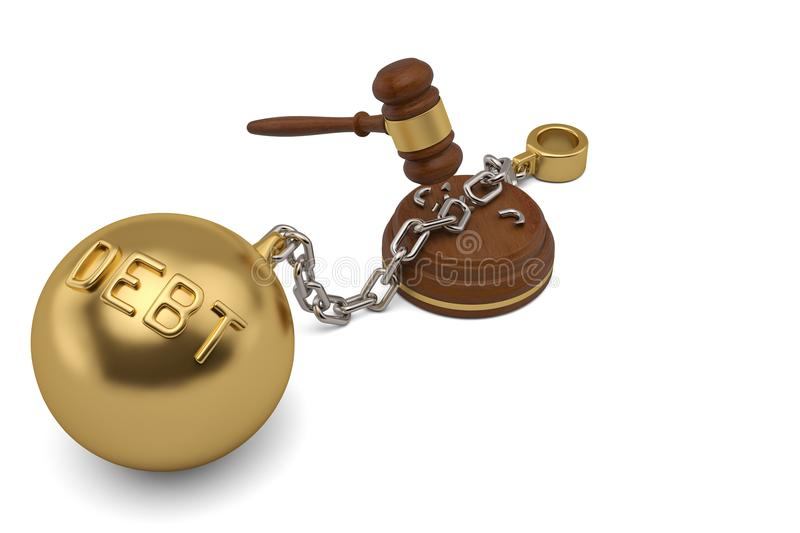 Auction hammer with debt gold shackle on white background.3D ill vector illustration
