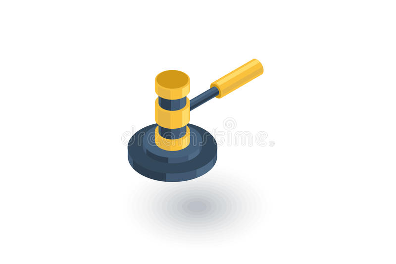 Auction hammer, law and justice symbol, verdict isometric flat icon. 3d vector. Colorful illustration. Pictogram on white background royalty free illustration