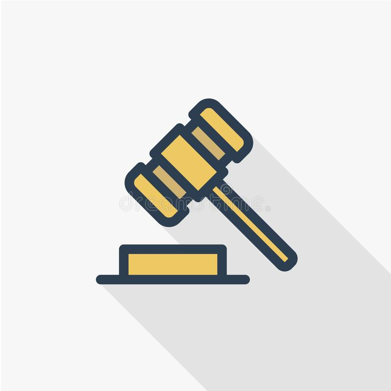 Auction hammer, law and justice symbol, verdict thin line flat color icon. Linear vector symbol. Colorful long shadow. Auction hammer, law and justice symbol vector illustration