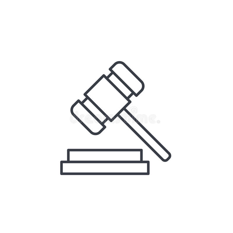 Auction hammer, law and justice symbol, verdict thin line icon. Linear vector symbol. Auction hammer, law and justice symbol, verdict thin line icon. Linear stock illustration