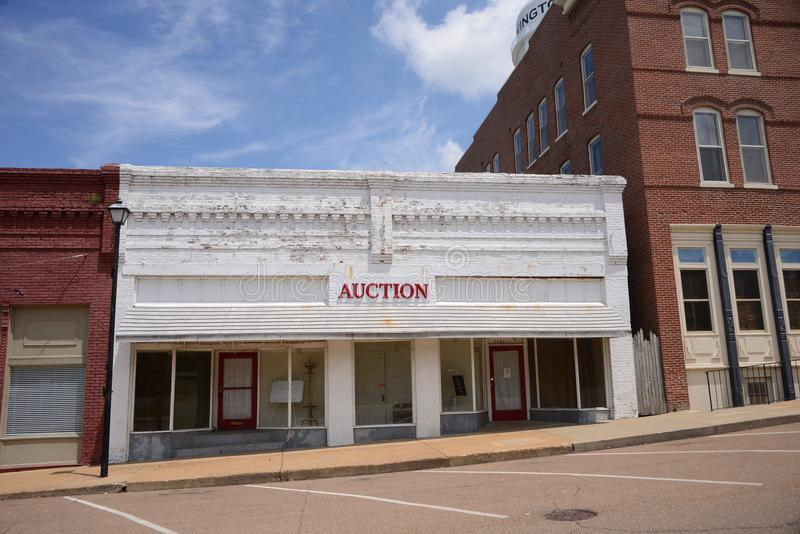 Auction House in Covington Tennesse. E, Covington is a city in central Tipton County, Tennessee, United States. Covington is the largest city and county seat of stock photo