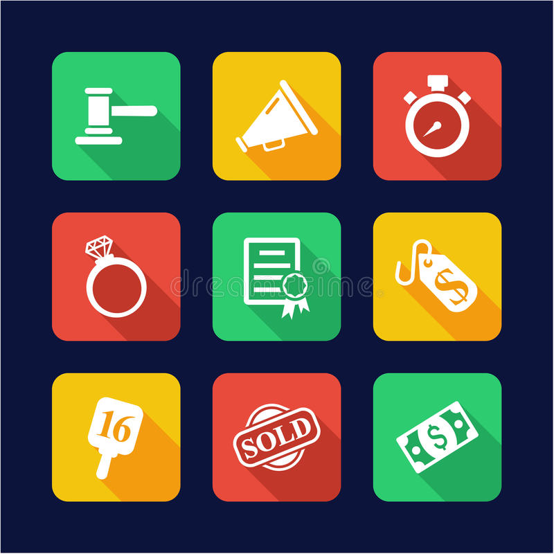 Auction Icons Flat Design. This image is a illustration and can be scaled to any size without loss of resolution vector illustration