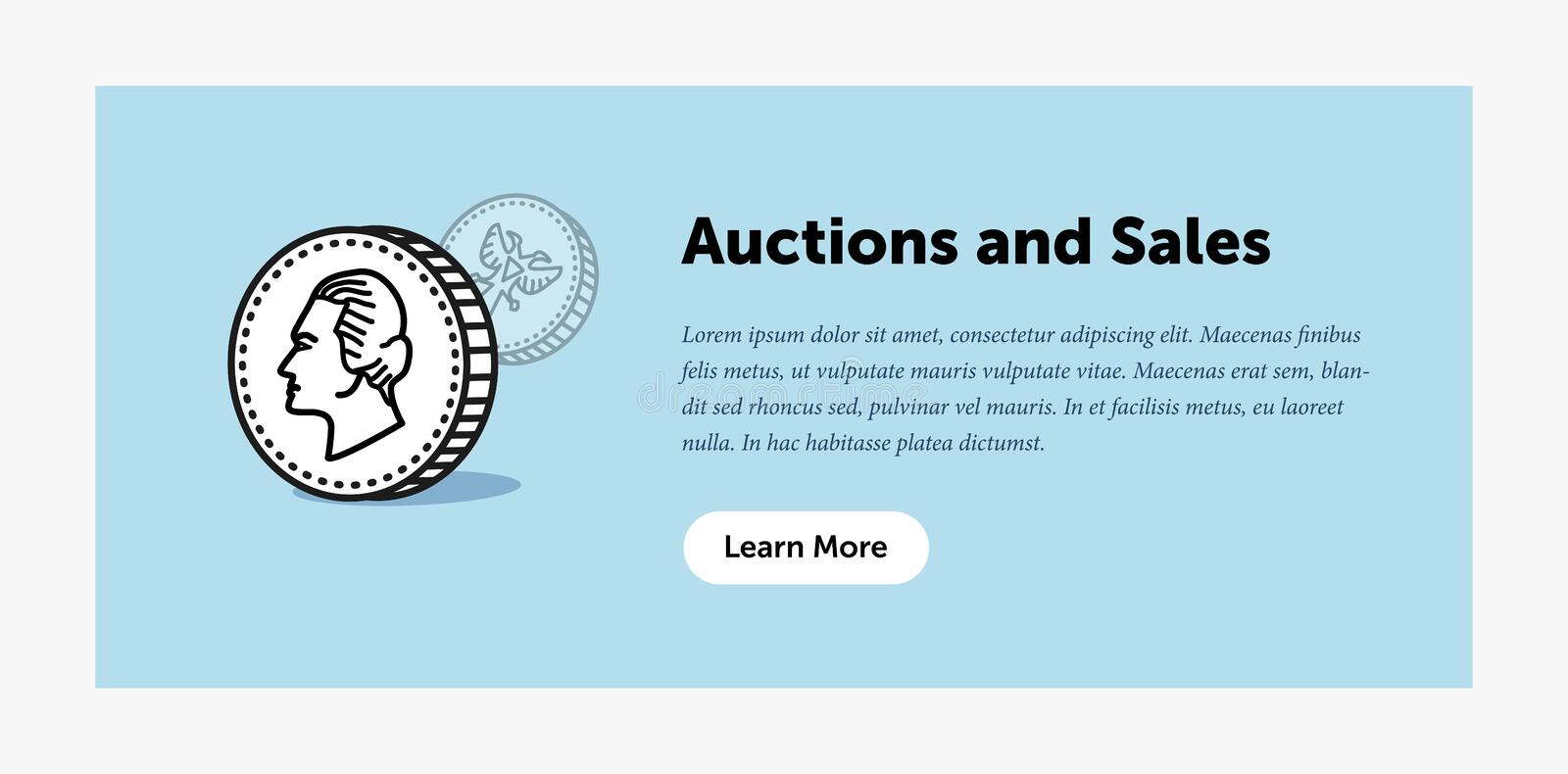 Auction illustration. Old ancient coin. Announcement about new bids. Web banner. Flat style design. stock illustration