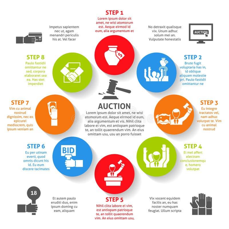 Auction Infographic Set stock illustration