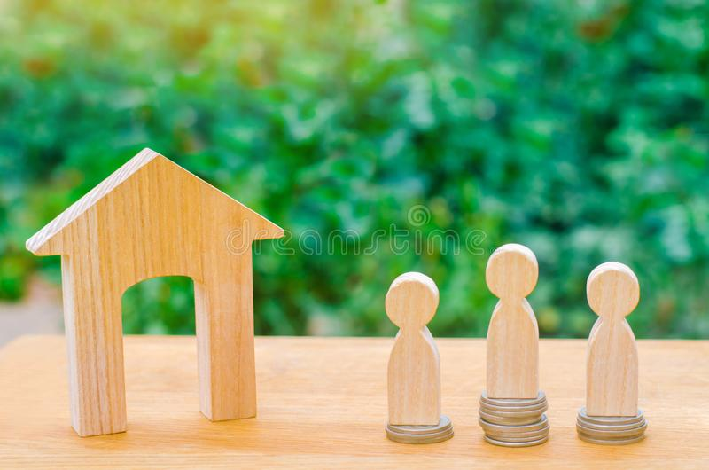 Auction, public sale real estate. wooden house, supermarket trolley, people. Buying, selling and renting a house. Loan for an apar. Tment, mortgage rate royalty free stock image