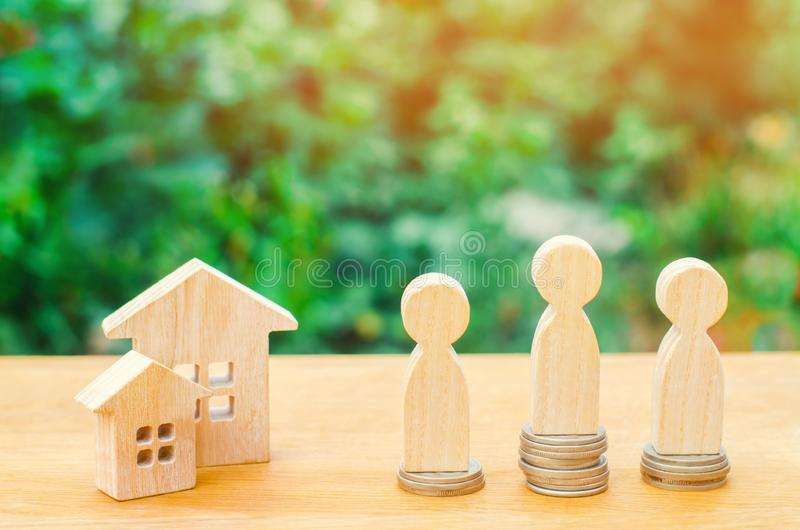 Auction, public sale real estate. wooden house, supermarket trolley, people. Buying, selling and renting a house. Loan for an apar. Tment, mortgage rate royalty free stock photography