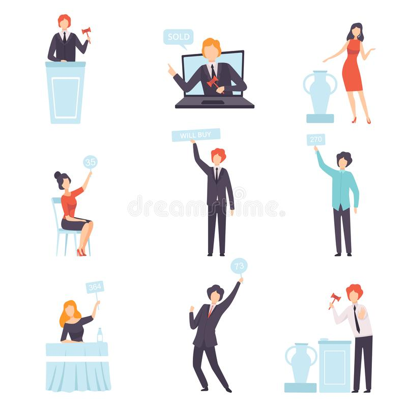 Auction Public Sale Set, People Bidding and Bying Goods in Auction House and Online, Auctioneer Announcing Prices with vector illustration