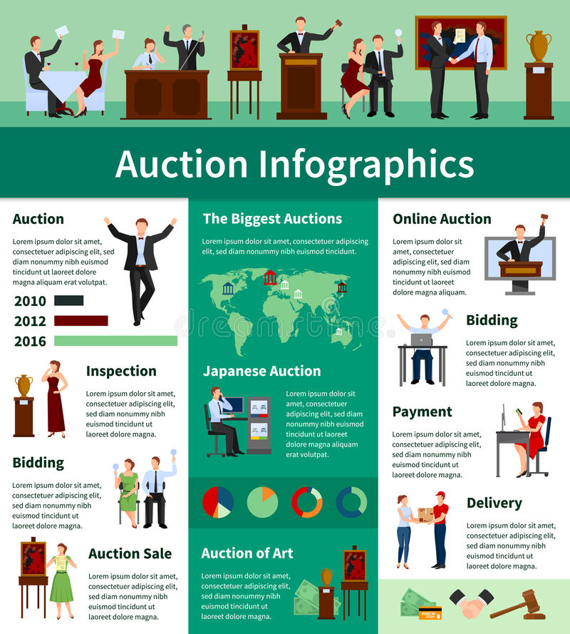 Auction Sales Worldwide Flat Infographic Banner vector illustration