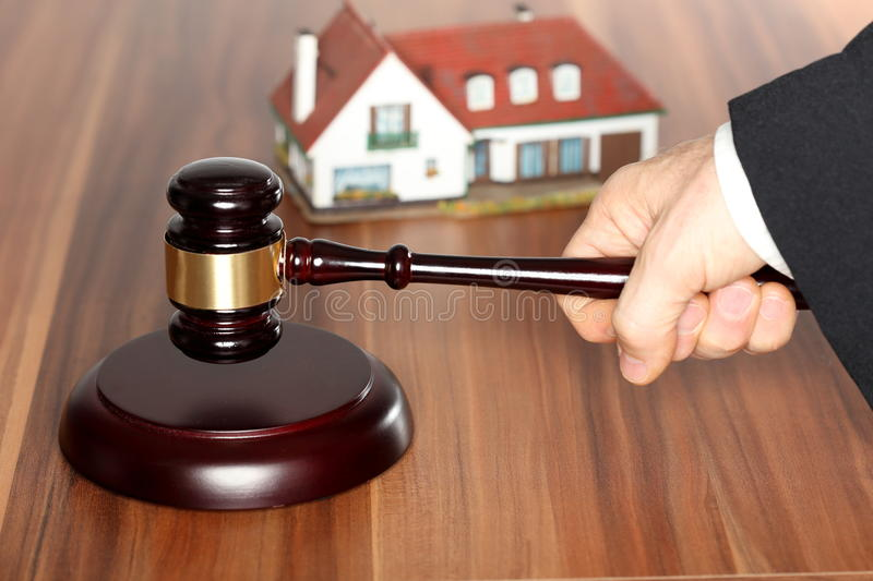 Auction on table stock photography