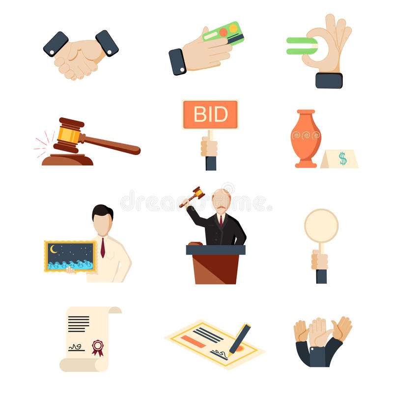 Auction vector icons set with hammer hands and money isolated royalty free illustration