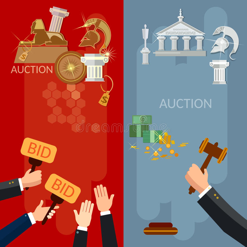 Auction vertical banners selling antiques and real estate vector illustration