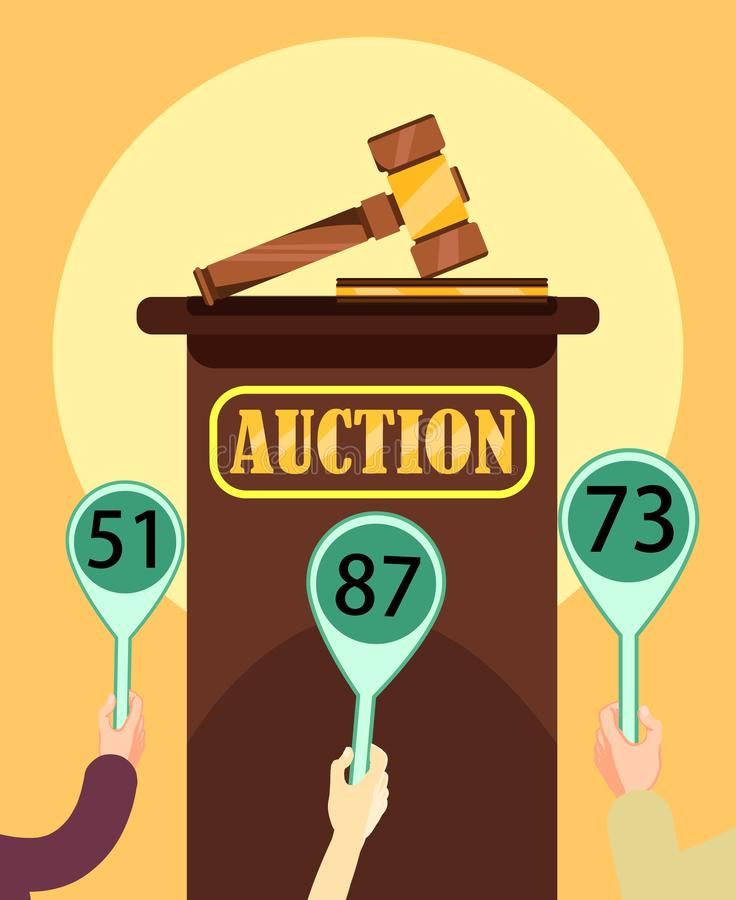 Auction Wooden Hammer and Stand with Participants. Auction Poster. Auction Wooden Hammer and Stand. Buyers Making Higher Bids to Get Goods and Service royalty free illustration