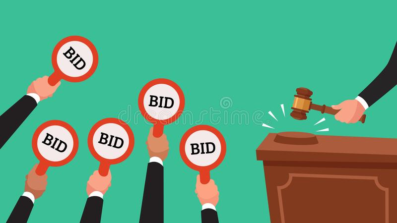 Auctioneer hold gavel in hand. Buyers raising arm holding bid paddles with numbers of price. Auction bidding vector. Auctioneer hold gavel in hand. Buyers royalty free illustration