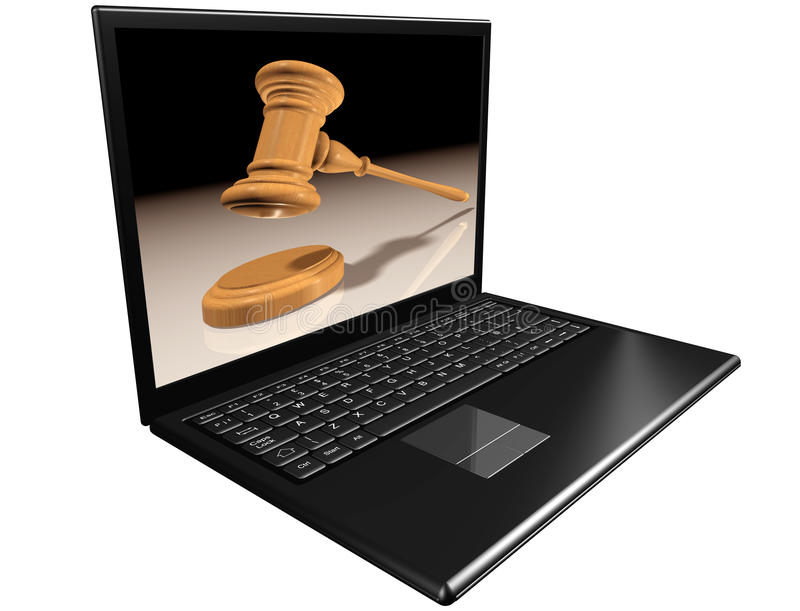Auctions on the Internet. Isolated illustration of a notebook computer representing Internet auctions royalty free illustration